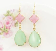 Vintage Mint Green Teardrop and Pink Square by silverliningdecor, $23.00