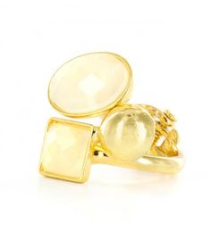 Iridescent Ivory Faceted Shapes Gold Hinged Ring