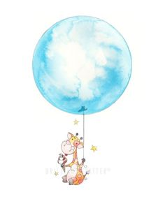 Cute giraffe balloon watercolor nursery art.