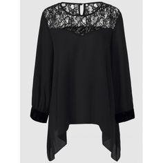 Plus Size Lace Splicing Asymmetrical Blouse, BLACK, 5XL in Tops   DressLily.com