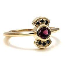 Black Diamond and Rhodolite Garnet Dainty Minimalist Ring - Modern Engagement Ring - 14k Yellow Gold
