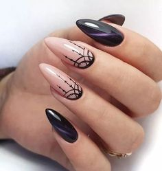 Perfect Almond Nail Art Designs For This Spring . - - Perfect Almond Nail Art Designs For This Spring … almond nails Perfect Almond Nail Art Designs For This Spring … Black And Nude Nails, Black Almond Nails, Almond Nail Art, Black Polish, Pink Black, Trendy Nails, Cute Nails, Hair And Nails, My Nails