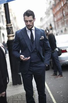 Men's street style, David Gandy being dandy Blue Suit Men, Suit Up, Suit And Tie, David Gandy, Fashion Mode, Suit Fashion, Mens Fashion, Fashion 2014, Lifestyle Fashion