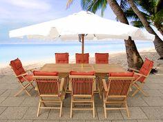 Teak Gartenmöbel Set - Gartentisch - 8x Stuhl - Sonnenschirm - Tisch TEAK