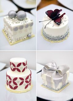 Beautiful mini cakes were served at this Elegant Ruby Anniversary celebration.