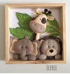 Cuadros ingeniosos Felt Crafts Diy, Felt Diy, Baby Crafts, Crafts For Kids, Felt Animal Patterns, Stuffed Animal Patterns, Sewing Toys, Sewing Crafts, Diy Craft Projects