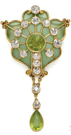 Art Nouveau Plique-a-Jour Enamel, Peridot, and Diamond Brooch, Marcus & Co., centering a circular-cut peridot within a shaped plique-a-jour enamel frame with old European-cut diamonds and suspending a drop, lg. 2 1/2 in., signed | JV