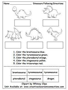 Dinosaur worksheet contains brief directions and cut and paste words. It provides a fun reading and science activity for primary students. A complete Dinosaur unit is available at: www.creativeclassroomconnections.com.