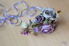 Gray purple floral crown Boho head wreath grey Roses wedding halo Flower crown large bridal flower crown Spring wedding Ready to ship