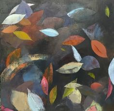 """Floating Leaves  Oil on canvas         20"""" square. This was nspired by a long country walk last autumn. I love using tone and colour to convey a sense of things floating. The autumn leaves were a perfect source for this theme."""