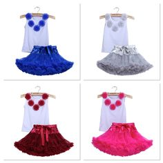 Girls Pettiskirt Fluffy Tutu Skirt Set Great for Summer / Birthday Party 2PC/Set Cotton Sleeveless Tops + Tutu Skirt Available size 2-3 , 4-5 Years  Price £20 / set UK Free Shipping