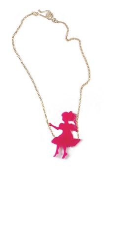 Girl on a Swing - Pink plexiglas necklace ♛