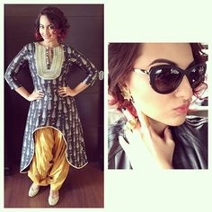 @aslisona promotes #tevar @tevarmovie in #Jaipur in @payalsinghal. Coin studs from @jewellerybyasthajagwani and rings from @prerto and @maithilikabrejewellery #stylefile #fashion #film #bollywood #day7 #ootd