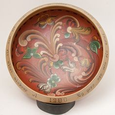 Signed NORWEGIAN Telemark ROSEMALING Bowl Decor Norway Folk Art 1980 With Text…