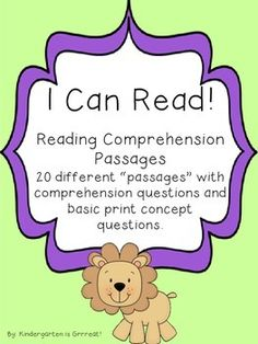 Reading Comprehension Passages - Great for beginning readers - comprehension and print concept questions! 20 different passages.