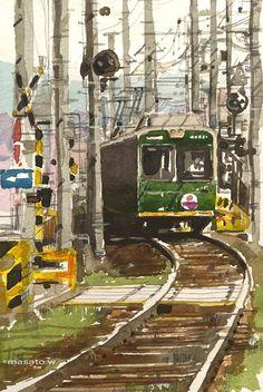 Artist Masato Watanabe  [Streetcar, Kyoto] Watercolor Sketch 京都 嵐電北野線 宇多野駅辺り 2013年4月 16×22cm