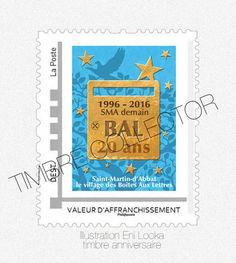 Timbre LetterboxArt©: timbre anniversaire SMA demain 20 ans.