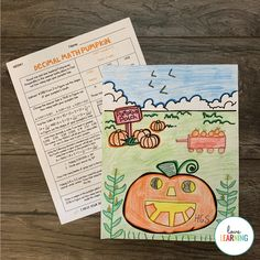 This Halloween Math Activity is perfect for fall in the classroom! Students have to solve the decimal math problems to complete the pumpkin patch scene. This activity is both challenging and engaging! Teaching Decimals, Math Fractions, Teaching Math, Dividing Fractions, Teaching Numbers, Equivalent Fractions, Multiplication, Maths, Teaching Ideas