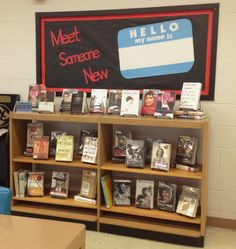 """Meet Someone New"" - Library Book Display & Bulletin Board featuring biographies and autobiographies"