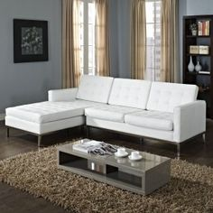 Modway Loft Left-Arm Leather Sectional Sofa in White Corner Sectional Sofa, Modular Sectional Sofa, Modern Sectional, Leather Sectional, Best Sectionals, White Furniture, Living Spaces, Living Room, Interior Design