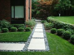 River stone walkway. Maybe a little more modern, but a cool idea.