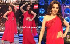 This week's episodes see Madhuri in a red Tarun Tahiliani sari featuring a one-shouldered blouse. Between the blouse (never been a fan of the style) and the the two-inches too low sari drape over it, there was nothing left to like.