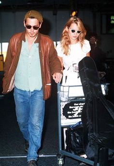 Kate Moss and Johnny Depp at Heathrow airport, 1995