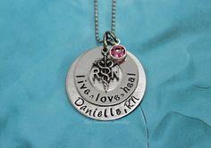 Hand Stamped Jewelry / RN necklace / Nurses / by BeeBaublesJewelry, $25.00