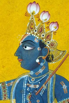 Krishna - detail. Mankot, Chamba District, Himachal Pradesh, India ca 1730 CE