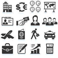 Business Travel black & white royalty free vector icon set vector art illustration