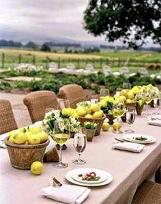 Lemons and linen tablescape