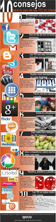 10 consejos para el uso de las TIC en clase ~ Docente 2punto0 #infografia #educacion #edtech