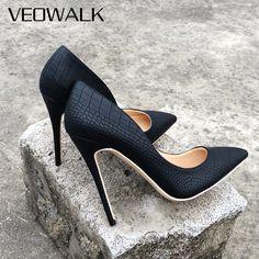 Veowalk marca Italia estilo mujeres clásico Stiletto tacones altos señoras  Sexy Sanke pattern puntiagudos Zapatos de 29b103b489b8