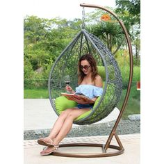 Contemporary Stylish Grey Wicker Hanging Swing Chair with Green Cushion Hammock Chair Stand, Egg Swing Chair, Hanging Swing Chair, Swinging Chair, Swing Chairs, Wicker Swing, Outdoor Patio Swing, Metal Furniture, Outdoor Furniture