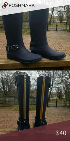 Brand New Canvas by Land's End Tall Rain Boots Brand new Canvas by Land's End Tall Rain Boots,  navy in color with yellow zipper accent on bank,  size 8 Canvas by Land's End   Shoes Winter & Rain Boots