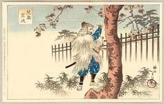 1898 - Chikanobu, Toyohara - Heroes and Heroines in the Tale of Heike - Writing on a Cherry Tree - Artelino