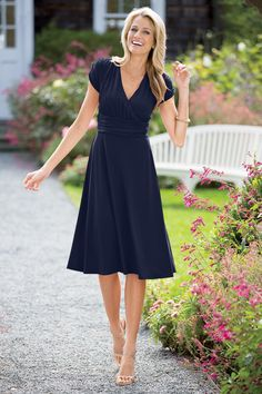Ruched Short Sleeve Knit A-line Dress from Chadwicks. This is GORGEOUS!!!