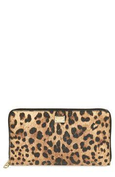 Dolce&Gabbana Leopard Print Zip Around Wallet