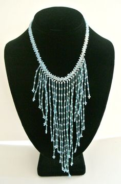 Vintage Aqua Beaded Necklace  $10.00