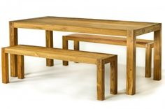 CG Sparks Reclaimed Teak 3 Piece Wood Dining Table and Bench Set - o1288180009
