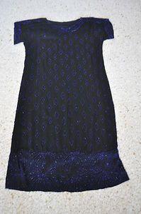 Vtg 20s Heavy Beaded Flapper Gatzby Drop Waist Dress Cobalt Blue Beadwork Fab   eBay