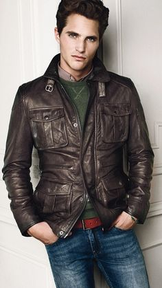 Brown Leather Car Coat with 4 Pockets, Men's Fall Winter Fashion.