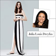 "NARCISO RODRIGUEZ: Resort 2014 ~~ I LOVE this dress, but not particularly for Julia Louis Dreyfus. I had to pin it though because it is such a stunning interplay of the most basic colors, black & white, and simple linear shapes. ADORE this dress!!  -- ""Say Yes to the Dress: Emmy Gown Predictions"" @Harper's Bazaar"