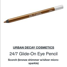 """Urban decay 24/7 eyeliner One of my favorite colors in this collection! """"Scorch"""" is a perfect bronze with silvery shimmer particles that make any eye color look incredible,one of those rare colors that look universally beautiful❤️stays on until you remove itpair this liner with any shadow to pump up the beautyNEW/UNUSED/FULL SIZE. price FIRM unless bundling. NO! PP/NO! TRADES/other sites❌. NO! offers please❤️ YES! free gift w/purchase ALWAYS Urban Decay Makeup Eyeliner"""
