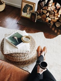 Loloi rug | Osborn shoes | Vintage portrait art After throwing around a few ideas for the living room and lusting over some of these pretty neutral living rooms, we think we're going to take the plung