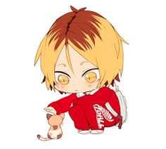Haikyuu!! - Kenma, cat, uniform, gif