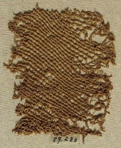 Fragment of a woman's hood, linen, sprang, 200 BCE - 150 CE, Egypt.