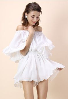 503bcdd794 Frill Like Dancing Off-shoulder Playsuit in White - Dress - Retro