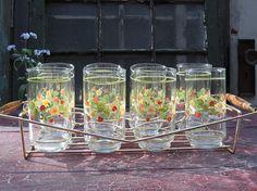 Vintage Libbey Tumblers Tea  Water Glasses Drinkware Set of 8