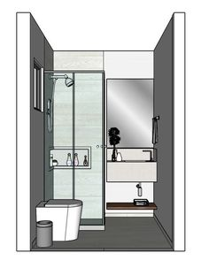 Banheiro suite 160/160 Small Bathroom Layout, Small Bathroom With Shower, Tiny Bathrooms, Modern Bathroom, Room Interior Design, Bathroom Interior, Wc Design, Bathroom Showrooms, Building A Container Home